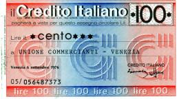 Italia - Miniassegno Credito Italiano - Venezia 1976 - Monnaies & Billets