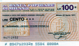 Italia - Miniassegno Banca Popolare Di Milano - Milano 1977 - Monnaies & Billets
