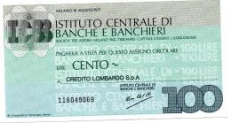 Italia - Miniassegno Istituto Centrale Banche E Banchieri - Milano 1977 - Monnaies & Billets