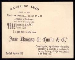 Cartão Com Publicidade Loja CASA DO LEAO Na Covilhã. Old Advertising 1919 Portugal - Portugal