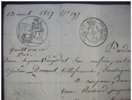 1827 Villefranche Quittance Par Suzanne Longère à Julien Donet, Aubergiste à Simonet - Manuscrits
