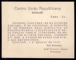 Cartão Com Propaganda Do CENTRO UNIAO REPUBLICANA Da COVILHA, Director JOSE CRAVEIRO LOPES (Castelo Branco) 1919 - Portugal
