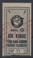 TURQUIE,TURKEI TURKEY TURKISH AERONAUTICAL ASSOCIATION  1 KURUS USED STAMP - Europe