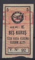 TURQUIE,TURKEI TURKEY TURKISH AERONAUTICAL ASSOCIATION  5 KURUS USED STAMP - Europe
