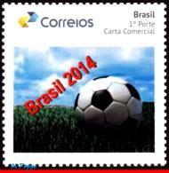 Ref. BR-V2014-28 BRAZIL 2014 FOOTBALL-SOCCER, BRAZIL 2014, BALL, WORLD, CUP, PERSONALIZED STAMP MNH, 1V - World Cup