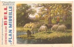 Buvard.Bell Chewing Gum Bell Et Flan Mireille Buvard N°10 1ère Série De 16 Buvards Moutons Dans Un Pré - Lebensmittel
