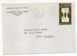 Côte D'Ivoire--1975-Lettre ABIDJAN Pour PARIS (France)-timbre Seul Sur Lettre-cachet -personnalisée Président  A.Denise - Côte D'Ivoire (1960-...)