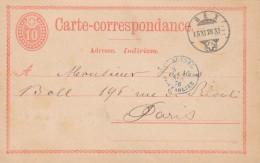 """Suisse France 1876 Entier Carte Postale """"BEX"""" Pour Paris, Cachet D´entrée Pontarlier En Bleu (o210) - Entiers Postaux"""