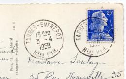 1958--cachet Manuel Rond TARBES-ENTREPOT Sur Marianne De Muller Le Tout Sur Carte Postale TARBES-65 - Marcophilie (Lettres)
