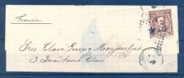 1876 , BARCELONA , ENVUELTA CIRCULADA A LYON , ED. 177 , MAT. ROMBO DE PUNTOS , FECHADOR , AMBULANTE CETTE A TAR - 1875-1882 Royaume: Alphonse XII
