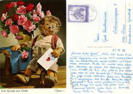 "AK Mecki-Karte Nr.345 ""Ein Gruß An Dich"" Igel Brief Blumen Rosen Hedgehog Riccio Diehl-Film Postkarte Flowers Roses 1976 - Mecki"