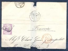 1874 , BARCELONA , ENVUELTA CIRCULADA A LYON , ED. 148 , MAT. ROMBO DE CIFRAS GRANDES 2240 DE MARSELLA , LLEGADA - 1873 1. Republik