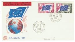France // Timbres De Service // Conseil De L´Europe // 1960  FDC Y&T 19-21 - Storia Postale