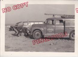 Photo Camion Pompier Incendie Citroën Guénange Moselle 1965 - War, Military