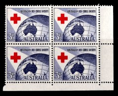 Australia 1954 Red Cross Society Corner Block Of 4 MNH/MH - 1952-65 Elizabeth II : Pre-Decimals