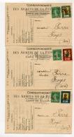 !!! LES 3 VIGNETTES FM GUIGNOL SUR CARTES DE 1916 - Franchise Militaire (timbres)