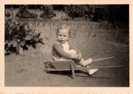 Photo Originale Enfant - Gamine En Brouette En 1949 - Anonymous Persons