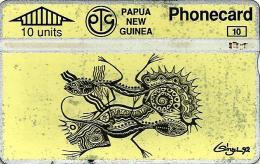 PAPUA NEW GUINEA 10 U NATIVE ART YELLOW PNG-023a L & G CODE:306C CV.$10US READ DESCRIPTION !!