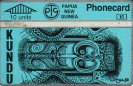 PAPUA NEW GUINEA 10 U NATIVE ART BLUY PNG-024a L & G CODE:306B CV.$10US READ DESCRIPTION !! - Papua New Guinea