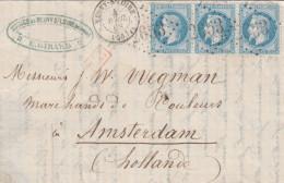 France 1868 Lettre 3*20c. Lauré (1 Def) De Neuvy/Loire GC 2653 Pour Amsterdam Pays-Bas (o224) - Marcofilia (sobres)