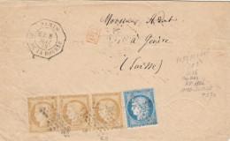 """France 1872 Lettre 3*15+25c. Cérès Avec Obl étoile """"1"""" & Levée Exceptionelle E2 Octo De Paris Pour Genève Suisse (o226) - Postmark Collection (Covers)"""