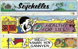 SEYCHELLES 240 U HEALTHY FOR LIFE MAN CARTOON 1993 L & G  CODE 311C SEY-24a  READ DESCRIPTION !!