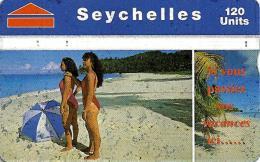 SEYCHELLES 120 U WOMAN ON BEACH PALM TREE L & G  CODE 708A SEY-41 READ DESCRIPTION !! - Seychellen