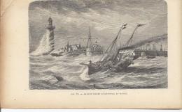 Grande Marée D'équinoxe Au Havre - Navire Bateau Phare  1892 - Prints & Engravings