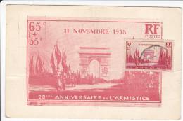 CPA PARIS ARC DE TRIMOMPHE 11 NOVEMBRE 1938 20 EME ANNIVERSAIRE DE L ARMISTICE DE LA GUERRE 1918 TIMBRE MAXI 2 EME CHOIX - Guerre 1914-18