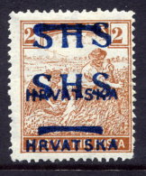 YUGOSLAVIA (SHS) 1918 Harvesters 2f With Double Overprint LHM / *.  Michel 66 - 1919-1929 Kingdom Of Serbs, Croats And Slovenes
