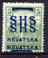 YUGOSLAVIA (SHS) 1918 Harvesters 5f  With Double Overprint LHM / *.  Michel 68 - 1919-1929 Kingdom Of Serbs, Croats And Slovenes