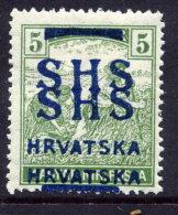 YUGOSLAVIA (SHS) 1918 Harvesters 5f  With Double Overprint LHM / *.  Michel 68 - 1919-1929 Royaume Des Serbes, Croates & Slovènes