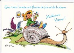 CPM FRANQUIN GASTON LAGAFFE SUR UN ESCARGOT GEANT MEILLEURS VOEUX FLEURS  DALIX 1993 - Comics