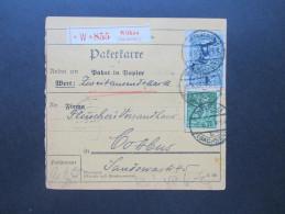 DR Infla Paketkarte 1922 MiF. Wilkau (Sachsen) - Fleischers Versandhaus In Cottbus. Wert Zweitausen Mark. Viele Stempel! - Covers & Documents