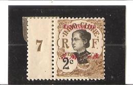 TIMBRES   D'INDOCHINE DE 1907 Avec Tchongking Et Valeur Locale En Surcharge Millésime 7 N° 66 * - Ungebraucht