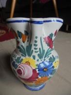 Ancienne Cruche Avec Anse En Céramique 15 Italy Peinte à La Main - Autres