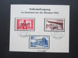 Saarland Nr. 362 - 364 Volksbefragung 22.10.1955 Sonderstempel / Ersttag. Sonderkarte - 1947-56 Allierte Besetzung