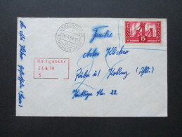 Saarland Nr. 327 EF Verwendet Erst 1959 / Nachporto / Nachgebühr. Grossrosseln über Völklingen (Saar) - 1947-56 Allierte Besetzung