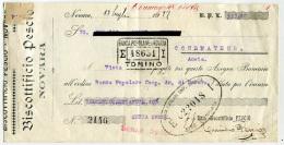 ASSEGNO PUBBLICITà BISCOTTIFICIO PESCIO NOVARA ANNO 1922 MARCA DA BOLLO CENT. 20 - Assegni & Assegni Di Viaggio