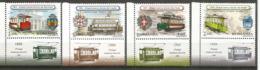 Les 1 Ers Tramways électriques à Francfort,Vienne,Londres,Bucarest,etc.  4 Timbres Neufs ** Avec Vignettes Attenantes - Tramways