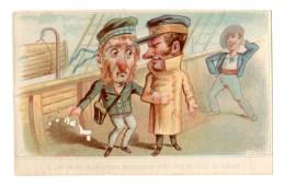 Rare Chromo Imp. APPEL 3-1-22, Tourist, Au Bord Du Bateau, Caricature - Kaufmanns- Und Zigarettenbilder