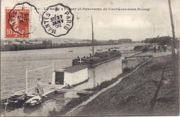 Cpa Poissy, La Seine Et Panorama De Carrières Sous Poissy, Cachet Ambulant - Poissy