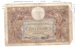 BILLET 100 FRANCS BON ETAT GENERAL 30/12/1937 - 100 F 1908-1939 ''Luc Olivier Merson''