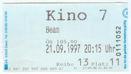 """Eintrittskarte Kino """"Bean – Der Ultimative Katastrophenfilm"""" 1997 Rowan Atkinson Mister Mr. Film Kaartje Bilet Ticket - Eintrittskarten"""