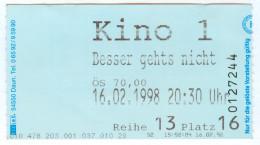"""Eintrittskarte Kino """"Besser Geht's Nicht"""" As Good As It Gets James L.Brooks 1998 Jack Nicholson Helen Hunt Bilet Entrada - Eintrittskarten"""