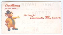 Eintrittskarte Kino Asterix In Amerika The Matrix Royal Graz 1994 Österreich Biglietto Entrada Kaartje Bilet Ticket Film - Eintrittskarten