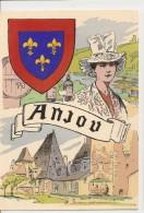 VENTE DIRECTE - Carte BLASON  ANJOU - Maurice TOUSSAINT Illustrateur - France