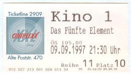 Eintrittskarte Kino Das Fünfte Element The Fifth Element Bruce Willis 1997 Film  Le Cinquième Élément Bilet Ticket Movie - Eintrittskarten