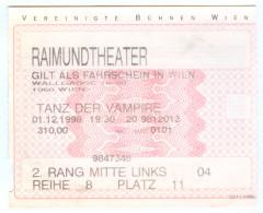 Eintrittskarte Musical Tanz Der Vampire Roman Polanski Raimund Theater Wien 1998 Biglietto Entrada Kaartje Bilet Ticket - Eintrittskarten
