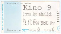 Eintrittskarte Ticket Kino Irren Ist Männlich Corinna Harfouch Herbert Knaup 1996 Biglietto Entrada Kaartje Bilet Ticket - Eintrittskarten